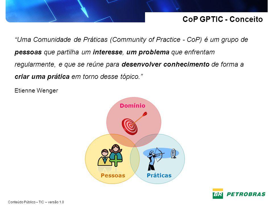 Conteúdo Público – TIC – versão 1.0 CoP GPTIC - Estatuto Missão Potencializar o compartilhamento de conhecimento em Gestão de Projetos, visando desenvolver os profissionais da área e melhorar a taxa de sucesso dos projetos na TIC