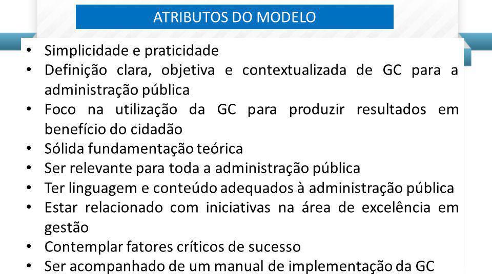 Simplicidade e praticidade Definição clara, objetiva e contextualizada de GC para a administração pública Foco na utilização da GC para produzir resul