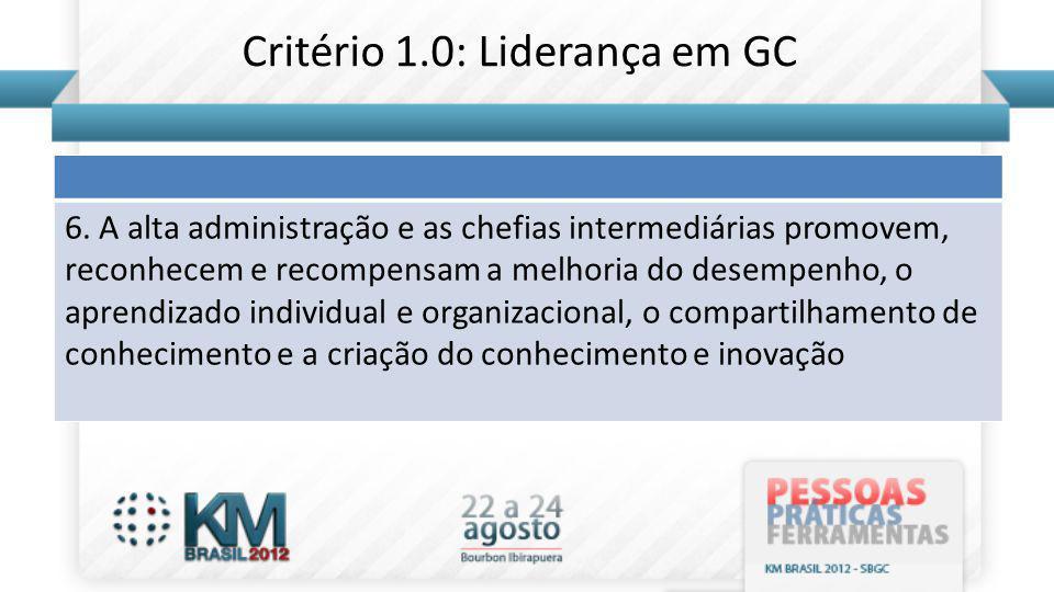 6. A alta administração e as chefias intermediárias promovem, reconhecem e recompensam a melhoria do desempenho, o aprendizado individual e organizaci