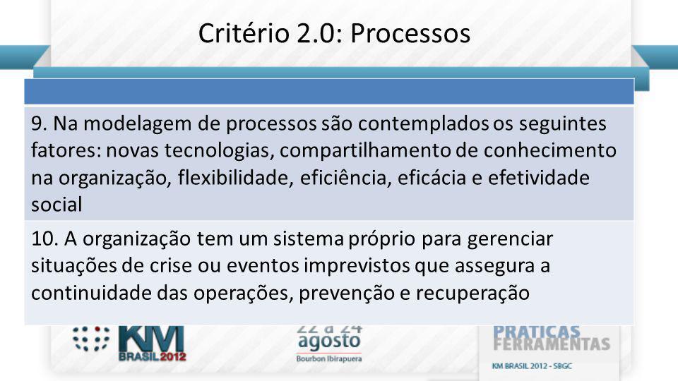 9. Na modelagem de processos são contemplados os seguintes fatores: novas tecnologias, compartilhamento de conhecimento na organização, flexibilidade,