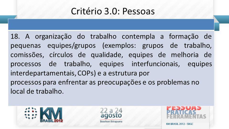 18. A organização do trabalho contempla a formação de pequenas equipes/grupos (exemplos: grupos de trabalho, comissões, círculos de qualidade, equipes