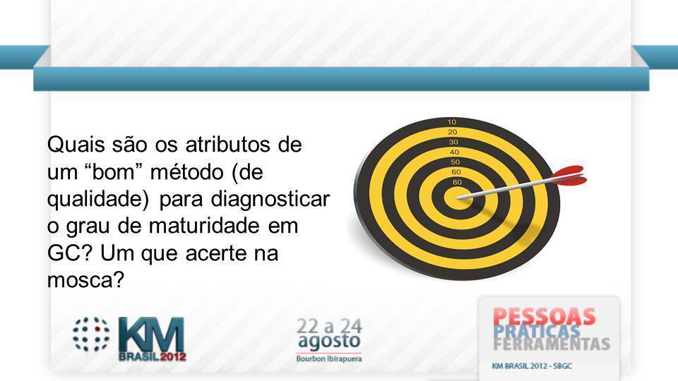 Quais são os atributos de um bom método (de qualidade) para diagnosticar o grau de maturidade em GC? Um que acerte na mosca?