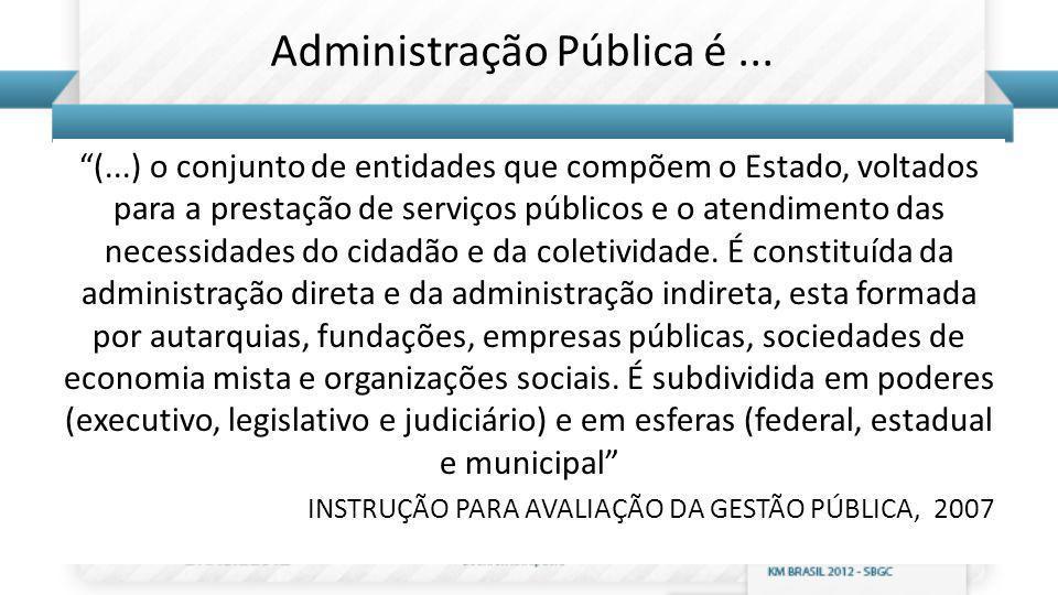Administração Pública é... (...) o conjunto de entidades que compõem o Estado, voltados para a prestação de serviços públicos e o atendimento das nece
