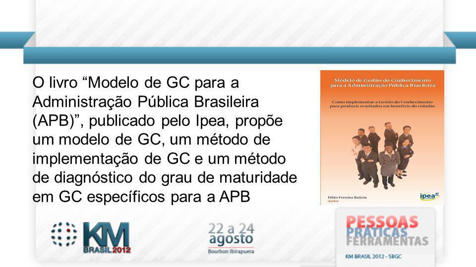 O livro Modelo de GC para a Administração Pública Brasileira (APB), publicado pelo Ipea, propõe um modelo de GC, um método de implementação de GC e um
