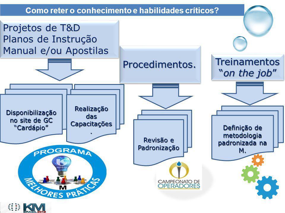 Como reter o conhecimento e habilidades críticos? Projetos de T&D Planos de Instrução Manual e/ou Apostilas Projetos de T&D Planos de Instrução Manual