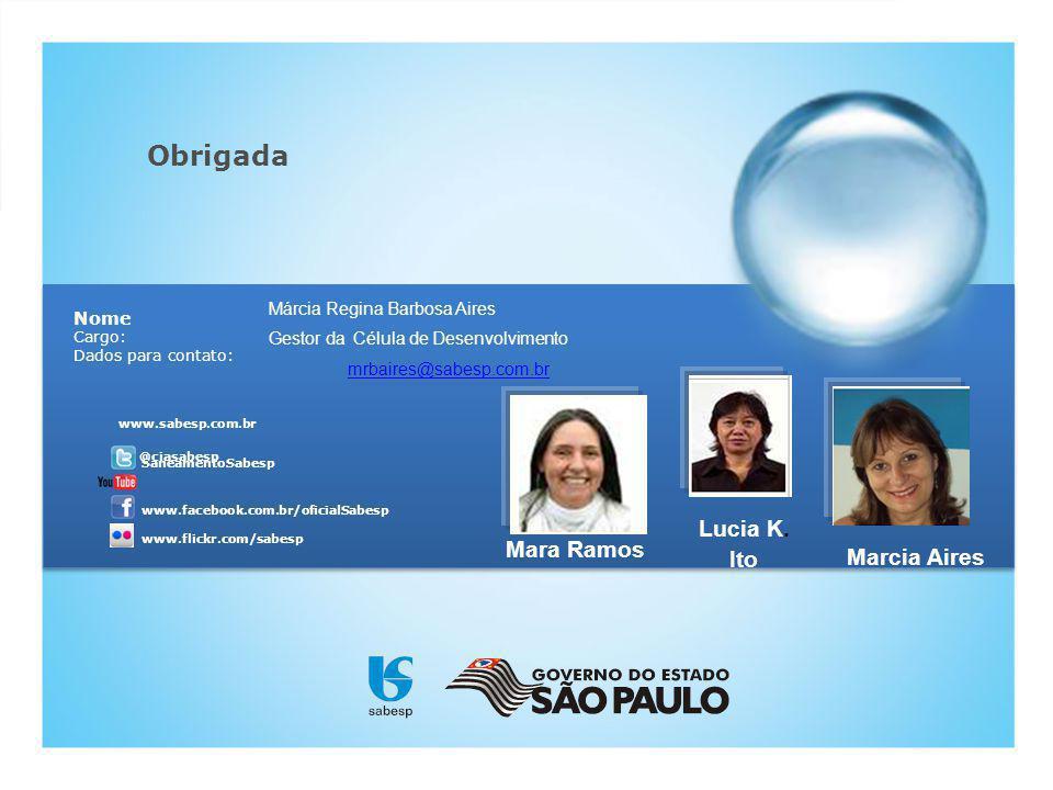 SaneamentoSabesp Nome Cargo: Dados para contato: www.flickr.com/sabesp www.facebook.com.br/oficialSabesp www.sabesp.com.br @ciasabesp Obrigada Márcia