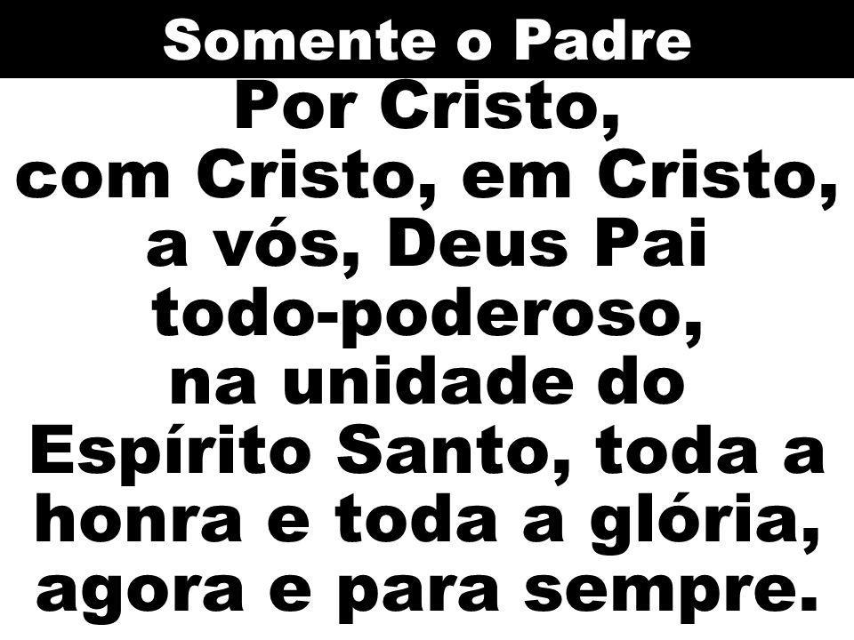 Por Cristo, com Cristo, em Cristo, a vós, Deus Pai todo-poderoso, na unidade do Espírito Santo, toda a honra e toda a glória, agora e para sempre. Som
