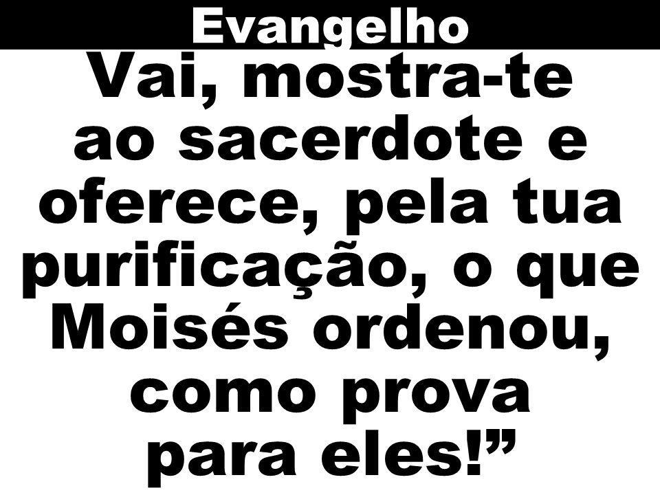 Vai, mostra-te ao sacerdote e oferece, pela tua purificação, o que Moisés ordenou, como prova para eles! Evangelho
