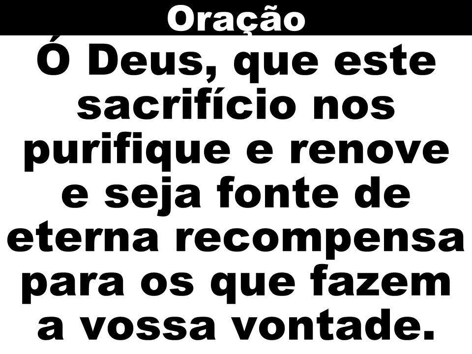 Ó Deus, que este sacrifício nos purifique e renove e seja fonte de eterna recompensa para os que fazem a vossa vontade. Oração