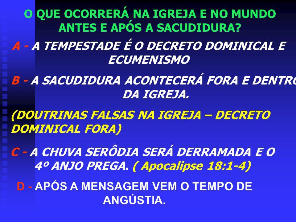 Sacudidura Falsas Doutrinas Tempestade Decreto dominical e Ecumenismo Fiéis CAMINHO DA VERDADE Infiéis - rejeitados.......... ------------------------