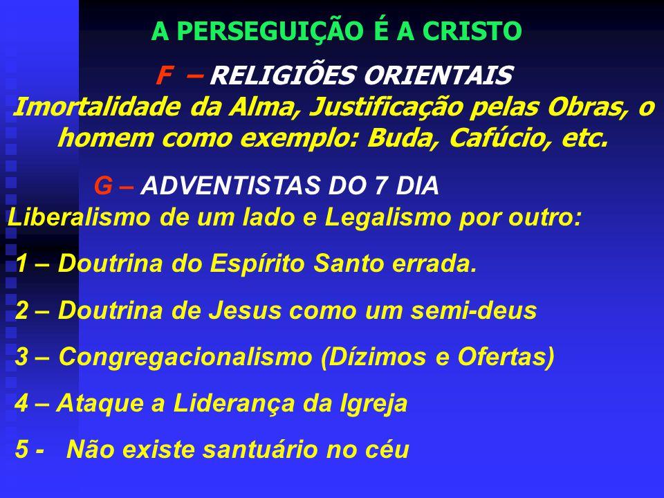 A – PROTESTANTISMO APOSTATADO Batismo do Espírito Santo B – TESTEMUNHAS DE JEOVÁ Cristo é Criatura de Deus (Divindade de Cristo) Arianismo C – ROMANIS