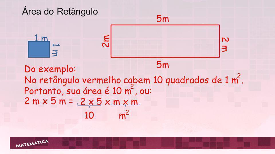 5m 2 m 1 m 2 Do exemplo: No retângulo vermelho cabem 10 quadrados de 1 m. Portanto, sua área é 10 m, ou: 2 2 2 x 5 x m x m 2 m x 5 m = 10 m 2 Área do