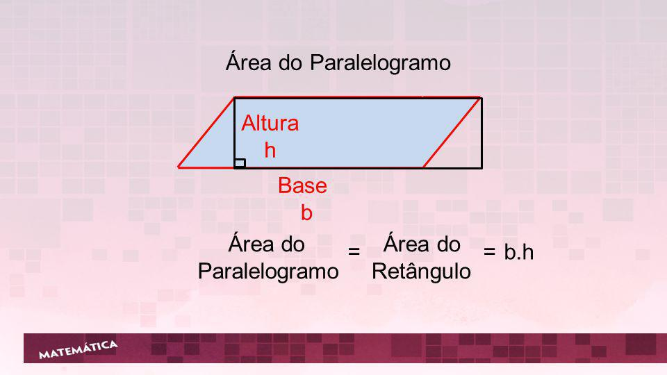 Base b Altura h Lado Lado Área do Retângulo = b.h Área do Quadrado =. = ²
