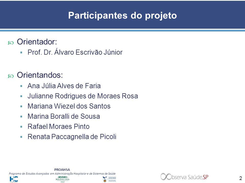 PROAHSA Programa de Estudos Avançados em Administração Hospitalar e de Sistemas de Saúde Participantes do projeto Orientador: Prof. Dr. Álvaro Escrivã