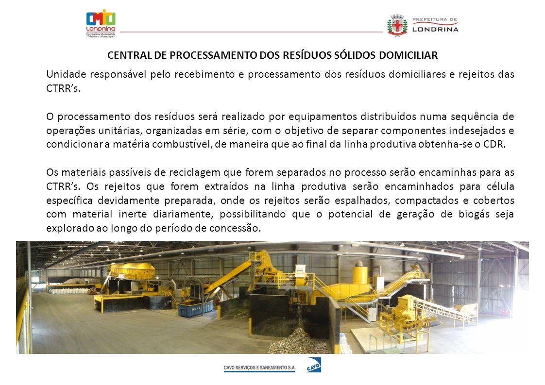 Unidade responsável pelo recebimento e processamento dos resíduos domiciliares e rejeitos das CTRRs. O processamento dos resíduos será realizado por e