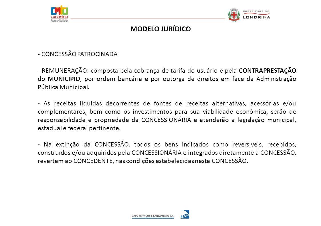 MODELO JURÍDICO - CONCESSÃO PATROCINADA - REMUNERAÇÃO: composta pela cobrança de tarifa do usuário e pela CONTRAPRESTAÇÃO do MUNICIPIO, por ordem banc