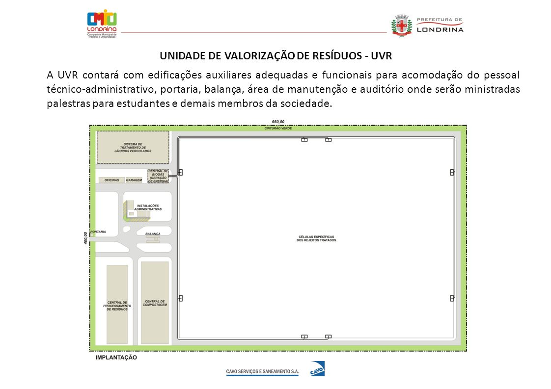 A UVR contará com edificações auxiliares adequadas e funcionais para acomodação do pessoal técnico-administrativo, portaria, balança, área de manutenç