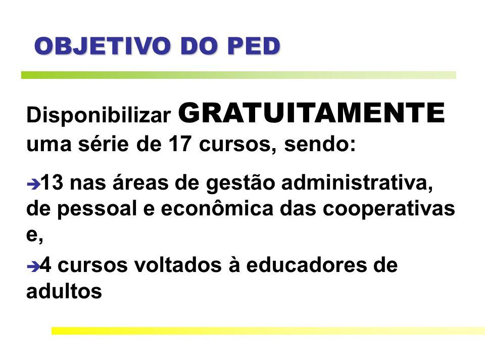 OBJETIVO DO PED Disponibilizar GRATUITAMENTE uma série de 17 cursos, sendo: 13 nas áreas de gestão administrativa, de pessoal e econômica das cooperativas e, 4 cursos voltados à educadores de adultos