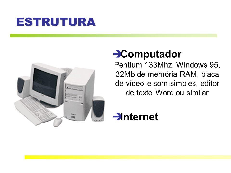 ESTRUTURA Computador Pentium 133Mhz, Windows 95, 32Mb de memória RAM, placa de vídeo e som simples, editor de texto Word ou similar Internet