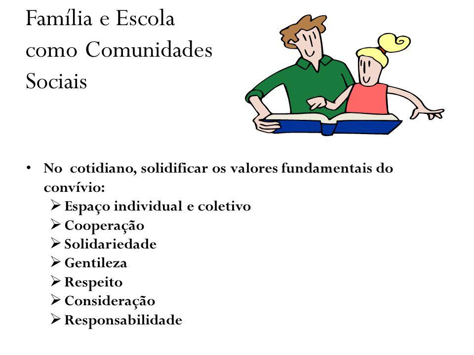 Família e Escola como Comunidades Sociais No cotidiano, solidificar os valores fundamentais do convívio: Espaço individual e coletivo Cooperação Solid