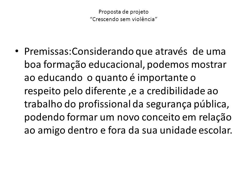 Proposta de projeto Crescendo sem violência Premissas:Considerando que através de uma boa formação educacional, podemos mostrar ao educando o quanto é