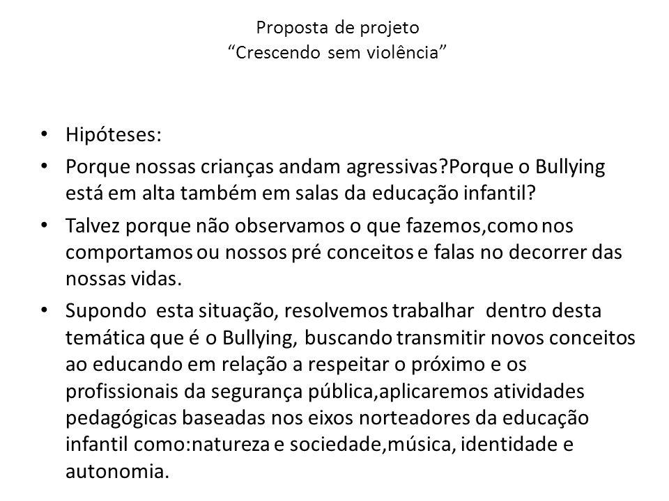 Proposta de projeto Crescendo sem violência Hipóteses: Porque nossas crianças andam agressivas?Porque o Bullying está em alta também em salas da educa