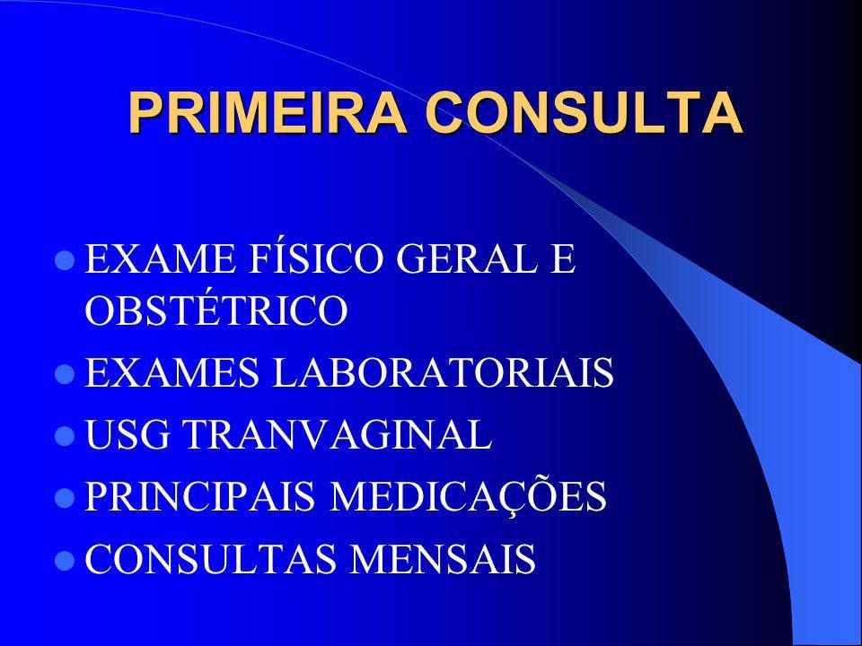 PRIMEIRA CONSULTA EXAME FÍSICO GERAL E OBSTÉTRICO EXAMES LABORATORIAIS USG TRANVAGINAL PRINCIPAIS MEDICAÇÕES CONSULTAS MENSAIS