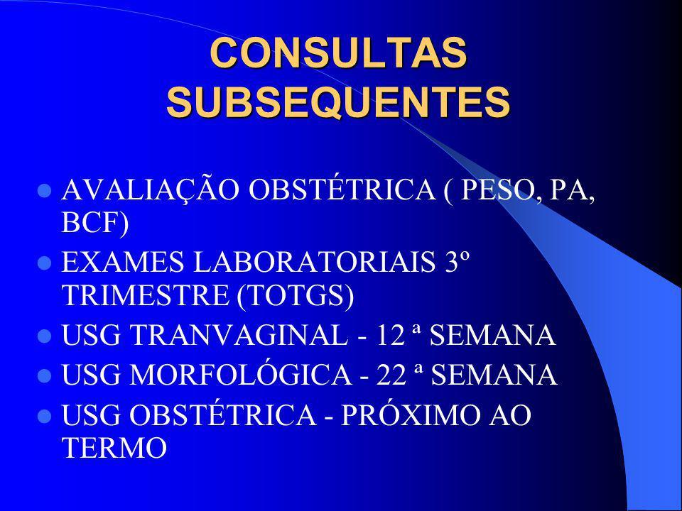CONSULTAS SUBSEQUENTES AVALIAÇÃO OBSTÉTRICA ( PESO, PA, BCF) EXAMES LABORATORIAIS 3º TRIMESTRE (TOTGS) USG TRANVAGINAL - 12 ª SEMANA USG MORFOLÓGICA - 22 ª SEMANA USG OBSTÉTRICA - PRÓXIMO AO TERMO
