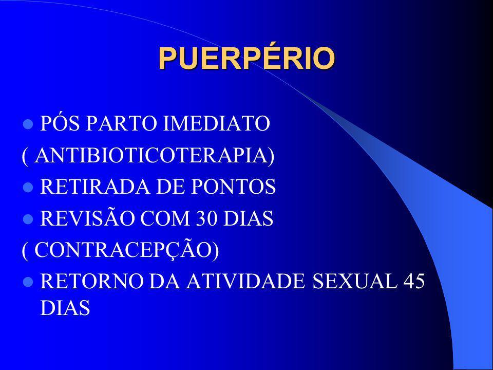 PUERPÉRIO PÓS PARTO IMEDIATO ( ANTIBIOTICOTERAPIA) RETIRADA DE PONTOS REVISÃO COM 30 DIAS ( CONTRACEPÇÃO) RETORNO DA ATIVIDADE SEXUAL 45 DIAS