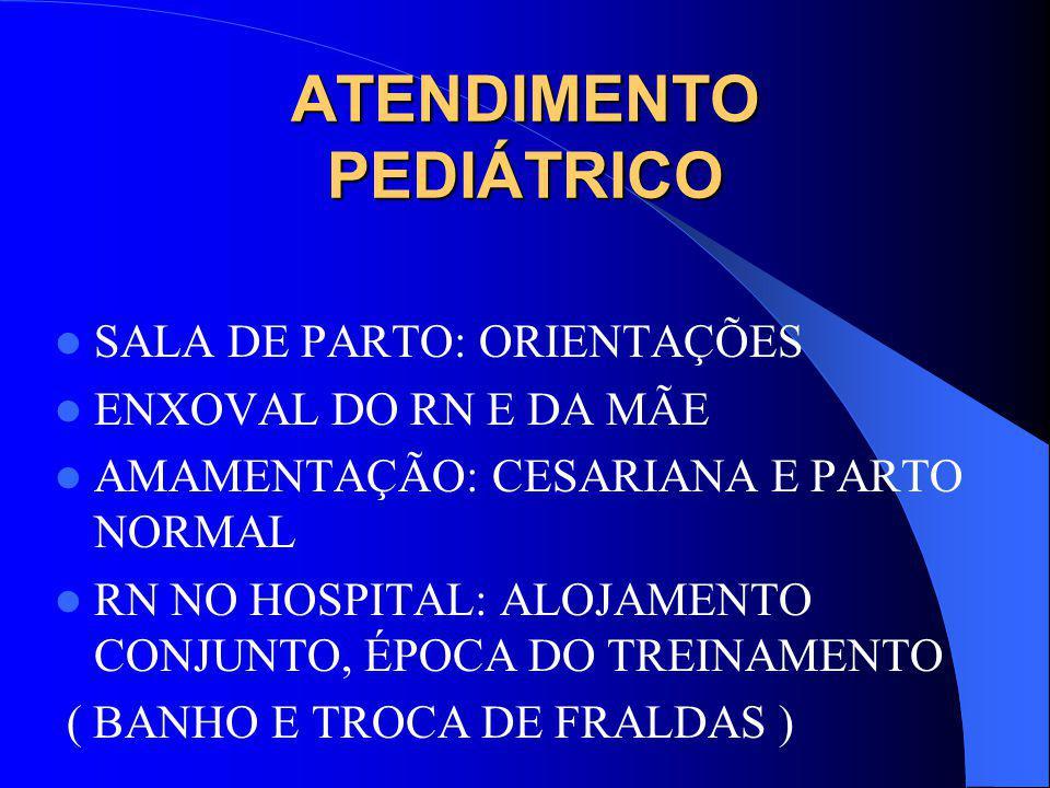 ATENDIMENTO PEDIÁTRICO SALA DE PARTO: ORIENTAÇÕES ENXOVAL DO RN E DA MÃE AMAMENTAÇÃO: CESARIANA E PARTO NORMAL RN NO HOSPITAL: ALOJAMENTO CONJUNTO, ÉPOCA DO TREINAMENTO ( BANHO E TROCA DE FRALDAS )