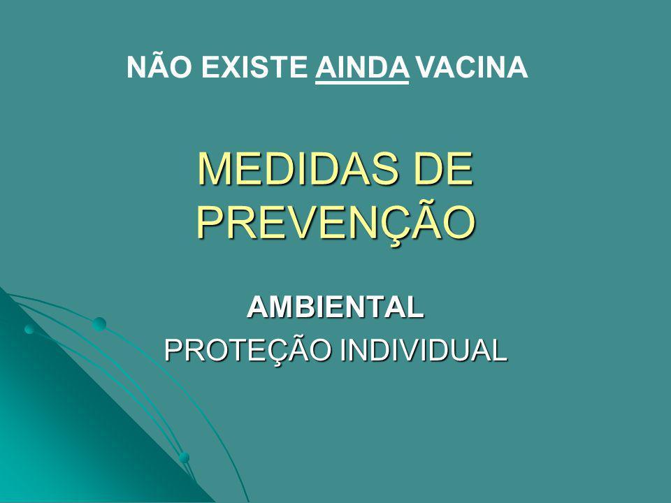MEDIDAS DE PREVENÇÃO AMBIENTAL PROTEÇÃO INDIVIDUAL NÃO EXISTE AINDA VACINA