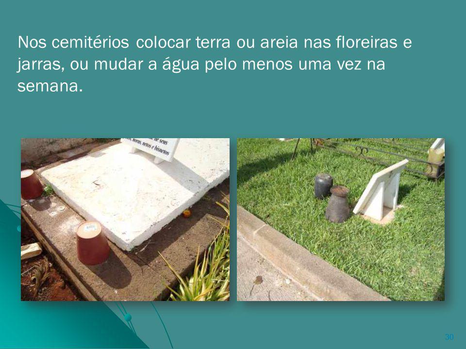 30 Nos cemitérios colocar terra ou areia nas floreiras e jarras, ou mudar a água pelo menos uma vez na semana.