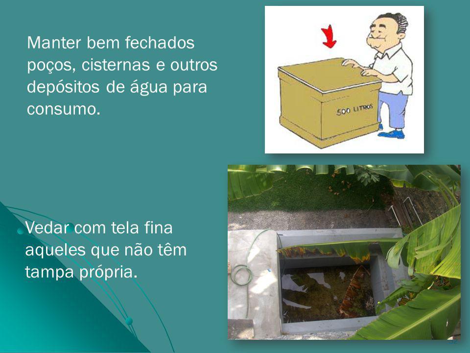 32 Manter bem fechados poços, cisternas e outros depósitos de água para consumo.