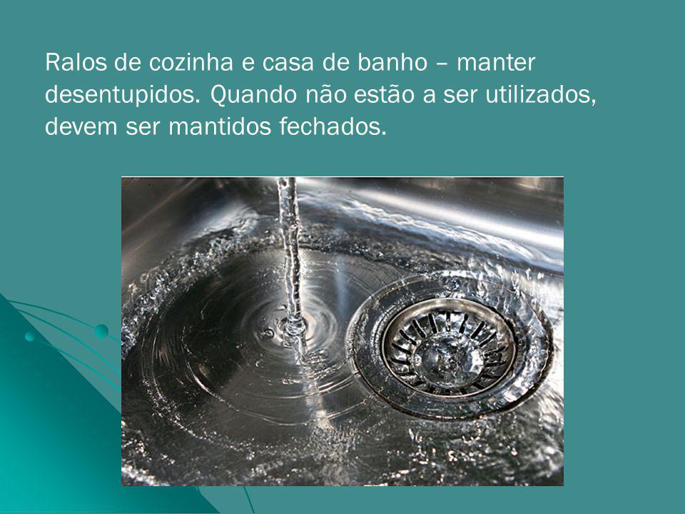 Ralos de cozinha e casa de banho – manter desentupidos.