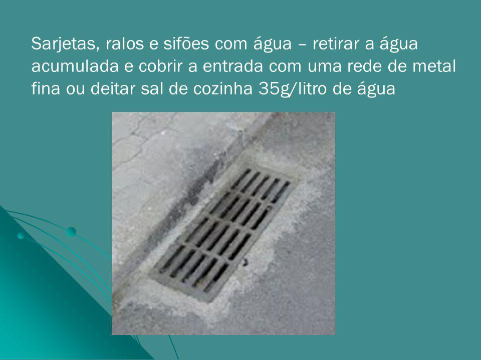 Sarjetas, ralos e sifões com água – retirar a água acumulada e cobrir a entrada com uma rede de metal fina ou deitar sal de cozinha 35g/litro de água