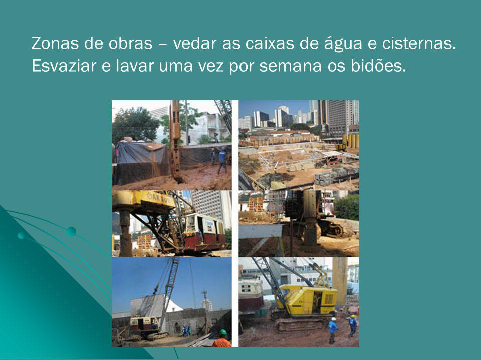 Zonas de obras – vedar as caixas de água e cisternas.