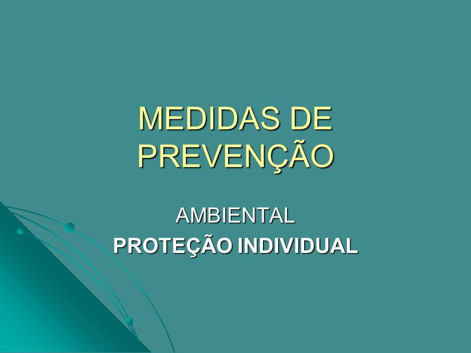 MEDIDAS DE PREVENÇÃO AMBIENTAL PROTEÇÃO INDIVIDUAL