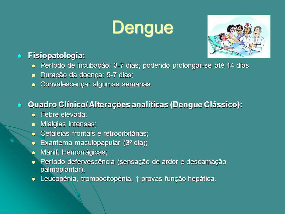 Dengue Quadro Clínico/ Alterações analíticas (Dengue Hemorrágico): Quadro Clínico/ Alterações analíticas (Dengue Hemorrágico): Evolução do quadro após defervescência é mais grave; Evolução do quadro após defervescência é mais grave; Comporta-se como uma sépsis grave (CID e aumento da permeabilidade vascular); Comporta-se como uma sépsis grave (CID e aumento da permeabilidade vascular); Trombocitopénia acentuada (< 10 000 pl.); Trombocitopénia acentuada (< 10 000 pl.); Hipofibrinogenémia; Hipofibrinogenémia; dos produtos de degradação da fibrina.