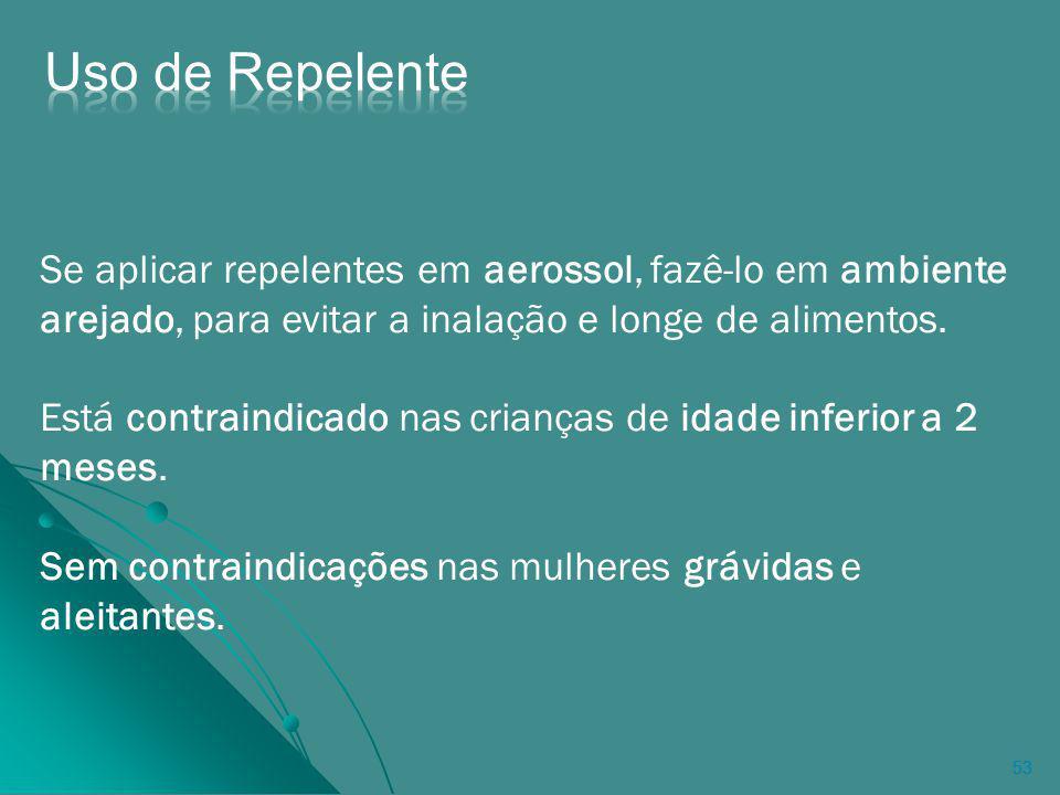53 Se aplicar repelentes em aerossol, fazê-lo em ambiente arejado, para evitar a inalação e longe de alimentos.