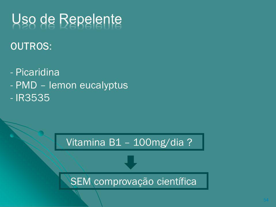 54 OUTROS: - Picaridina - PMD – lemon eucalyptus - IR3535 Vitamina B1 – 100mg/dia .