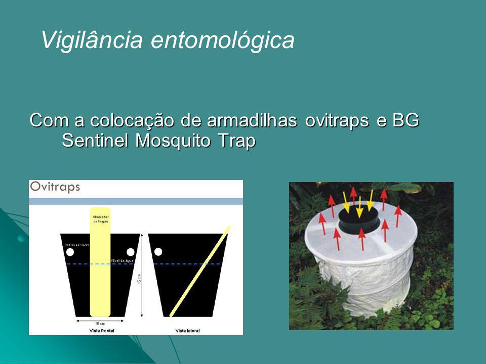 Vigilância entomológica Com a colocação de armadilhas ovitraps e BG Sentinel Mosquito Trap