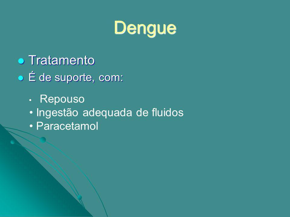 Conclusões O dengue em regra, evolui para a cura, mas podem acontecer casos mais graves, que requerem cuidados médicos Os casos suspeitos, que se podem assemelhar a um quadro febril comum, devem procurar aconselhamento médico e não fazer automedicação, nomeadamente não tomar aspirina.
