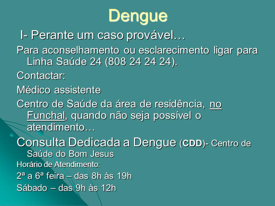 Dengue I- Perante um caso provável… I- Perante um caso provável… Para aconselhamento ou esclarecimento ligar para Linha Saúde 24 (808 24 24 24).