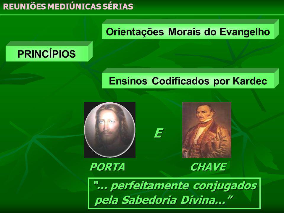 PRINCÍPIOS Orientações Morais do Evangelho Ensinos Codificados por Kardec PORTACHAVE REUNIÕES MEDIÚNICAS SÉRIAS... perfeitamente conjugados pela Sabed