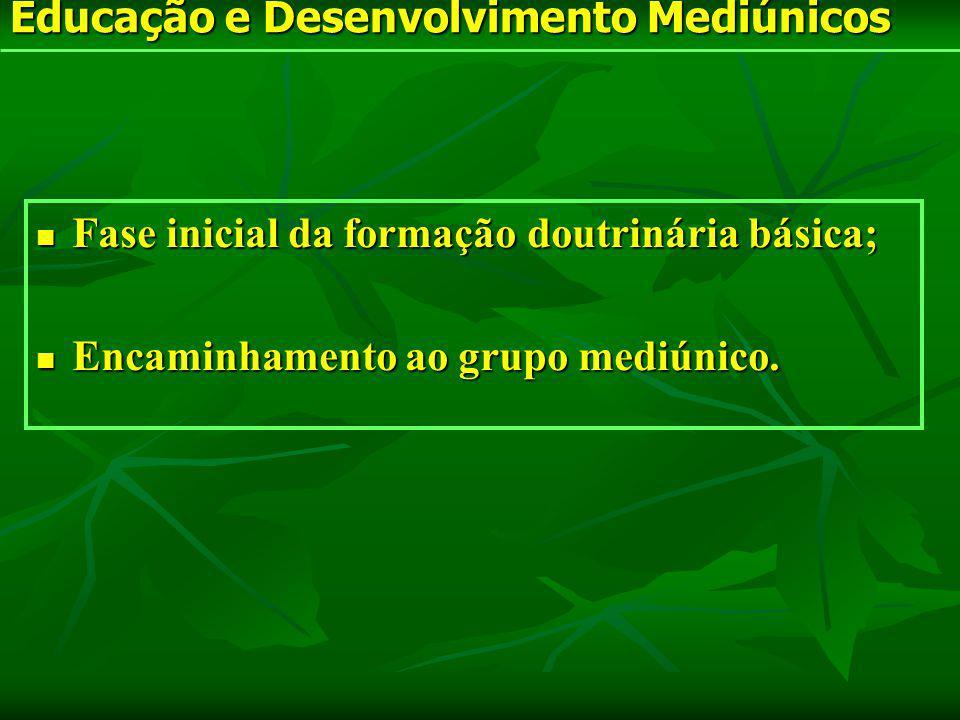 Fase inicial da formação doutrinária básica; Fase inicial da formação doutrinária básica; Encaminhamento ao grupo mediúnico. Encaminhamento ao grupo m