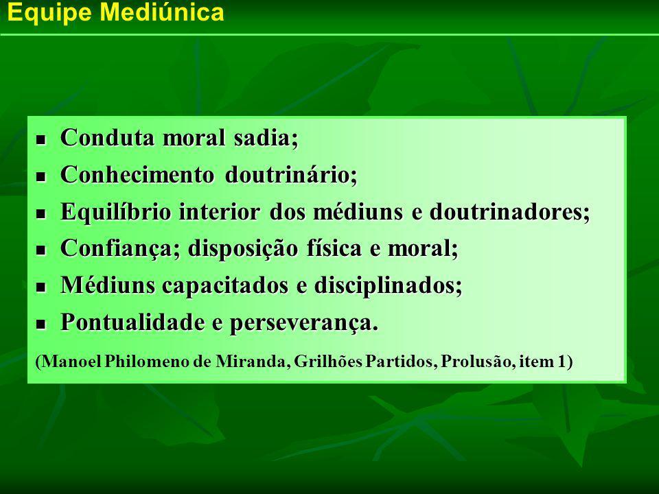 Conduta moral sadia; Conduta moral sadia; Conhecimento doutrinário; Conhecimento doutrinário; Equilíbrio interior dos médiuns e doutrinadores; Equilíb