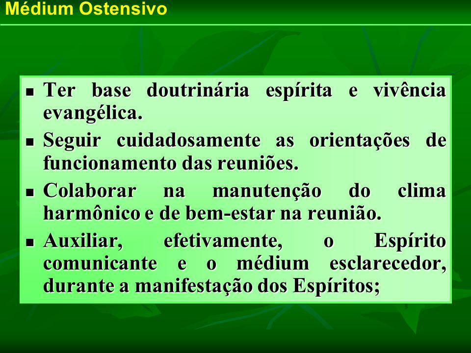 Ter base doutrinária espírita e vivência evangélica. Ter base doutrinária espírita e vivência evangélica. Seguir cuidadosamente as orientações de func