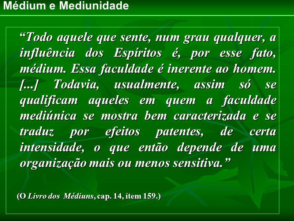 Médium e Mediunidade Todo aquele que sente, num grau qualquer, a influência dos Espíritos é, por esse fato, médium. Essa faculdade é inerente ao homem