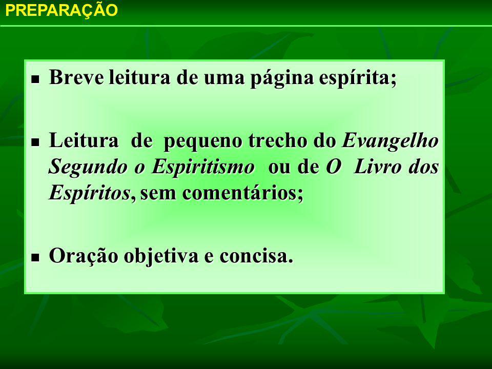 Breve leitura de uma página espírita; Breve leitura de uma página espírita; Leitura de pequeno trecho do Evangelho Segundo o Espiritismo ou de O Livro