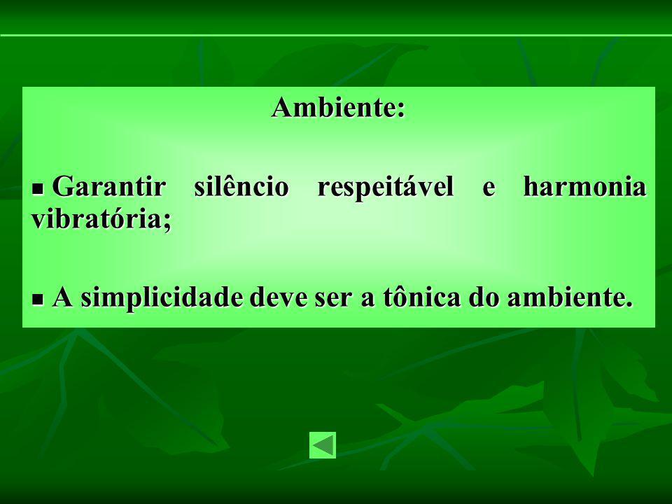 Ambiente: Garantir silêncio respeitável e harmonia vibratória; Garantir silêncio respeitável e harmonia vibratória; A simplicidade deve ser a tônica d